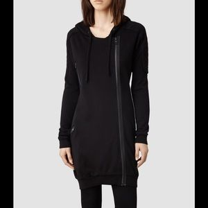 All saints black Ridley long oversized hoodie